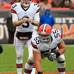 Cleveland Browns quarterback Brandon Weeden (3) waits for the snap from center Alex Mack (55) in the second quarter of an NFL football game against the Buffalo Bills Sunday, Sept. 23, 2012,  &#8230;
