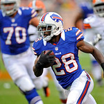 Buffalo Bills running back C.J. Spiller runs 32 yards with a pass for a touchdown in the first quarter of an NFL football game against the Cleveland Browns, Sunday, Sept. 23, 2012, in Clevel &#8230;
