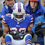 Buffalo Bills running back C.J. Spiller (28) is taken to the locker room after injuring his shoulder in the first quarter of an NFL football game against the Cleveland Browns, Sunday, Sept.  &#8230;