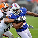 Buffalo Bills wide receiver Brad Smith (16) is tackled by Cleveland Browns linebacker Craig Robertson and safety T.J. Ward (43) in the first quarter of an NFL football game Sunday, Sept. 23, &#8230;