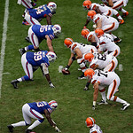 The Buffalo Bills defense, left, lines up against the Cleveland Browns offense in the third quarter of an NFL football game Sunday, Sept. 23, 2012, in Cleveland. (AP Photo/Mark Duncan)