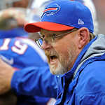 Buffalo Bills head coach Chan Gailey reacts to a late touchdown by the Bills in the fourth quarter of an NFL football game against the Cleveland Browns Sunday, Sept. 23, 2012, in Cleveland.  &#8230;