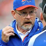 Buffalo Bills head coach Chan Gailey argues a call with an official in the third quarter of an NFL football game against the Cleveland Browns, Sunday, Sept. 23, 2012, in Cleveland. (AP Photo &#8230;