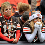 Cleveland Browns fans reacts in the fourth quarter of an NFL football game against the Buffalo Bills, Sunday, Sept. 23, 2012, in Cleveland. (AP Photo/Tony Dejak)