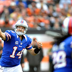 Buffalo Bills quarterback Ryan Fitzpatrick fires a pass against the Cleveland Browns in the fourth quarter of an NFL football game Sunday, Sept. 23, 2012, in Cleveland. (AP Photo/David Richa &#8230;