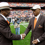 Former Cleveland Browns greats Clarence Scott, left, and Ernie Green meet before an NFL football game between the Browns and the Buffalo Bills Sunday, Sept. 23, 2012, in Cleveland. (AP Photo &#8230;