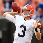 Cleveland Browns quarterback Brandon Weeden warms up before the Buffalo Bills play against the Browns in an NFL football game Sunday, Sept. 23, 2012, in Cleveland. (AP Photo/Tony Dejak)
