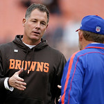 Cleveland Browns head coach Pat Shurmur, left, greets Buffalo Bills head coach Chan Gailey before an NFL football game Sunday, Sept. 23, 2012, in Cleveland. (AP Photo/Mark Duncan)