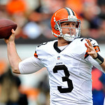 Cleveland Browns quarterback Brandon Weeden passes against the Buffalo Bills in the first quarter of an NFL football game Sunday, Sept. 23, 2012, in Cleveland. (AP Photo/David Richard)