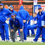 Buffalo Bills head coach Chan Gailey, center, watches during an NFL football game against the Cleveland Browns Sunday, Sept. 23, 2012, in Cleveland. (AP Photo/Tony Dejak)
