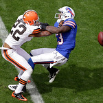 Cleveland Browns cornerback Buster Skrine (22) breaks up a pass intended fpr Buffalo Bills wide receiver Steve Johnson in the third quarter of an NFL football game Sunday, Sept. 23, 2012, in &#8230;