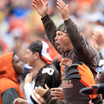 A Cleveland Browns fan reacts in an NFL football game against the Buffalo Bills Sunday, Sept. 23, 2012, in Cleveland. (AP Photo/Tony Dejak)