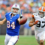 Buffalo Bills tight end Scott Chandler (84) misses a pass against Cleveland Browns defensive end Jabaal Sheard (97) in the third quarter of an NFL football game Sunday, Sept. 23, 2012, in Cl &#8230;