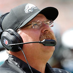 Philadelphia Eagles head coach Andy Reid watches in an NFL football game against the Cleveland Browns Sunday, Sept. 9, 2012, in Cleveland. (AP Photo/Ron Schwane)