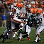 Cleveland Browns' Josh Cribbs retuens a punt against the Philadelphia Eagles in an NFL football game Sunday, Sept. 9, 2012, in Cleveland. (AP Photo/Mark Duncan)
