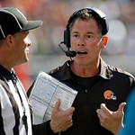 Cleveland Browns head coach Pat Shurmur argues with an official in the fourth quarter of an NFL football game against the Philadelphia Eagles Sunday, Sept. 9, 2012, in Cleveland. The Eagles  …