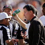 Cleveland Browns head coach Pat Shurmur argues with referee Ken Roan during an NFL football game against the Philadelphia Eagles Sunday, Sept. 9, 2012, in Cleveland. (AP Photo/Mark Duncan)