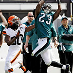Philadelphia Eagles cornerback Dominique Rodgers-Cromartie (23) intercepts a pass intended for Cleveland Browns wide receiver Travis Benjamin (80) in the third quarter of an NFL football gam …