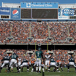 Philadelphia Eagles quarterback Michael Vick (7) waits for the snap in the fourth quarter of an NFL football game against the Cleveland Browns Sunday, Sept. 9, 2012, in Cleveland. (AP Photo/ …