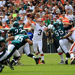 Cleveland Browns quarterback Brandon Weeden (3) passes against the Philadelphia Eagles during an NFL football game Sunday, Sept. 9, 2012, in Cleveland. (AP Photo/Tony Dejak)