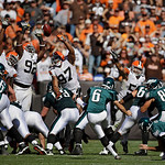 Cleveland Browns defensive ends Frostee Rucker (92) and Jabaal Sheard (97) defend a field goal attempt by Philadelphia Eagles kicker Alex Henery (6) in the third quarter of an NFL football g …