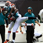 Philadelphia Eagles defensive back Dominique Rodgers-Cromartie (23) intercepts the ball intended for Cleveland Browns wide receiver Travis Benjamin (80) in the second quarter of an NFL footb …