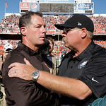 Cleveland Browns head coach Pat Shurmur, left, and Philadelphia Eagles head coach Andy Reid shake hands after the Eagles defeated the Browns 17-16 in an NFL football game on Sunday, Sept. 9, …