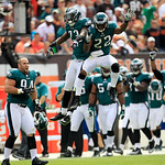 Philadelphia Eagles defensive back Dominique Rodgers-Cromartie (23) and Brandon Boykin (22) celebrate after Rodgers-Cromartie intercepted the ball against the Cleveland Browns during an NFL  …