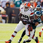 Philadelphia Eagles cornerback Nnamdi Asomugha breaks up a pass intended for Cleveland Browns running back Brandon Jackson (29) in the fourth quarter of an NFL football game Sunday, Sept. 9, …