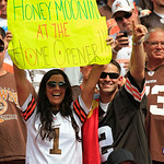 Browns fans react during an NFL football game against the Philadelphia Eagles Sunday, Sept. 9, 2012, in Cleveland. (AP Photo/Tony Dejak)