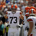 Cleveland Browns offensive tackle Joe Thomas (73) during an NFL football game against the Philadelphia Eagles Sunday, Sept. 9, 2012, in Cleveland. (AP Photo/Mark Duncan)