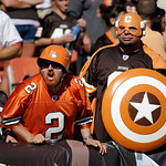 Cleveland Browns fans react to a call in an NFL football game against the Philadelphia Eagles Sunday, Sept. 9, 2012, in Cleveland. (AP Photo/Mark Duncan)