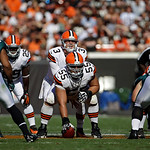 Cleveland Browns quarterback Brandon Weeden (3) waits for the snap from center Alex Mack (55) in the fourth quarter of an NFL football game against the Philadelphia Eagles Sunday, Sept. 9, 2 …