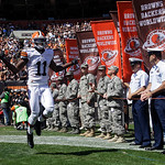 Cleveland Browns wide receiver Mohamed Massaquoi (11) runs onto the field before an NFL football game against the Philadelphia Eagles Sunday, Sept. 9, 2012, in Cleveland. (AP Photo/Mark Dunc …