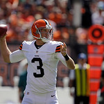 Cleveland Browns quarterback Brandon Weeden passes against the Philadelphia Eagles in an NFL football game Sunday, Sept. 9, 2012, in Cleveland. (AP Photo/Mark Duncan)