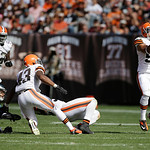 Cleveland Browns linebacker L.J. Fort (58) catches an interception during the third quarter of an NFL football game against the Philadelphia Eagles Sunday, Sept. 9, 2012, in Cleveland. (AP P …