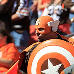 A Cleveland Browns fan during an NFL football game between the Philadelphia Eagles and the Cleveland Browns Sunday, Sept. 9, 2012, in Cleveland. (AP Photo/Tony Dejak)