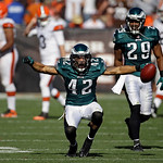 Philadelphia Eagles safety Kurt Coleman celebrates after intercepting a pass from Cleveland Browns quarterback Brandon Weeden late in the fourth quarter of an NFL football game Sunday, Sept. …