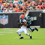 Cleveland Browns wide receiver Mohamed Massaquoi (11) is tackled by Philadelphia Eagles linebacker Mychal Kendricks (95)during an NFL football game Sunday, Sept. 9, 2012, in Cleveland. (AP P …