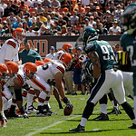 Cleveland Browns quarterback Brandon Weeden calls signals against the Philadelphia Eagles in an NFL football game Sunday, Sept. 9, 2012, in Cleveland. (AP Photo/Mark Duncan)