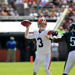 Cleveland Browns quarterback Brandon Weeden (3) throws against the Philadelphia Eagles during an NFL football game Sunday, Sept. 9, 2012, in Cleveland. (AP Photo/Tony Dejak)