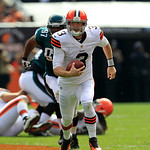 Cleveland Browns quarterback Brandon Weeden (3) runs the ball in the second quarter of an NFL football game against the Philadelphia Eagles Sunday, Sept. 9, 2012, in Cleveland. (AP Photo/Ton …