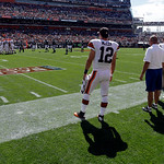 Cleveland Browns backup quarterback Colt McCoy (12) watches from the sidelines during an NFL football game against the Philadelphia Eagles Sunday, Sept. 9, 2012, in Cleveland. (AP Photo/Mark …
