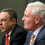 Cleveland Browns new CEO Joe Banner, left, answers questions as new owner Jimmy Haslam III listens during a news conference Wednesday, Oct. 17, 2012, in Berea, Ohio. Banner spent 19 years wi …