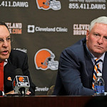Cleveland Browns new CEO Joe Banner, left, and new owner Jimmy Haslam III participate in a news conference Wednesday, Oct. 17, 2012, in Berea, Ohio. Banner spent 19 years with the Eagles, sp …