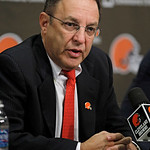 Cleveland Browns new CEO Joe Banner answers questions during a news conference Wednesday, Oct. 17, 2012, in Berea, Ohio. Banner spent 19 years with the Eagles, spending 12 seasons as preside …