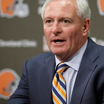 Cleveland Browns new owner Jimmy Haslam III answers questions during a news conference Wednesday, Oct. 17, 2012, in Berea, Ohio. Joe Banner was introduced Wednesday as CEO of the Browns, joi …