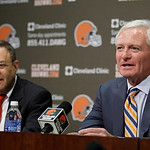 Cleveland Browns new owner Jimmy Haslam III, right, and Browns new CEO Joe Banner answer questions during a news conference Wednesday, Oct. 17, 2012, in Berea, Ohio.  Banner spent 19 years w …