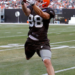 Cleveland Browns wide receiver Josh Cooper catches a pass during NFL football training camp in Cleveland on Wednesday, Aug. 8, 2012. (AP Photo/Ron Schwane)