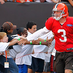 Cleveland Browns quarterback Brandon Weeden is greeted by fans as he takes the field for Family Night at Cleveland Browns Stadium during an NFL football training camp in Cleveland, Wednesday …